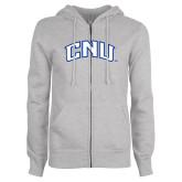 ENZA Ladies Grey Fleece Full Zip Hoodie-Arched CNU