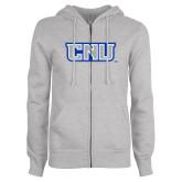 ENZA Ladies Grey Fleece Full Zip Hoodie-CNU