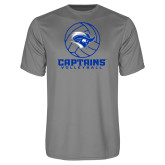 Performance Grey Concrete Tee-Captains Volleyball Stacked