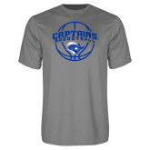 Performance Grey Concrete Tee-Captains Basketball Arched w/ Ball