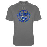 Under Armour Carbon Heather Tech Tee-Captains Basketball Arched w/ Ball