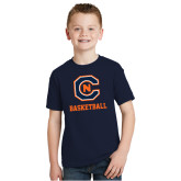 Youth Navy T Shirt-Basketball