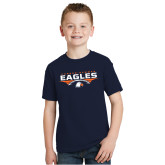 Youth Navy T Shirt-Carson-Newman Eagles Football Stacked