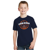 Youth Navy T Shirt-Carson-Newman Basketball Arched w/ Ball