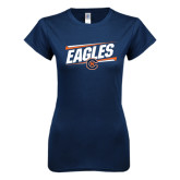 Next Level Ladies SoftStyle Junior Fitted Navy Tee-Eagles Slanted w/ Logo