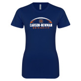 Next Level Ladies SoftStyle Junior Fitted Navy Tee-Carson-Newman Football Stacked
