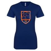 Next Level Ladies SoftStyle Junior Fitted Navy Tee-Soccer Shield w/ Logo