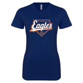 Next Level Ladies SoftStyle Junior Fitted Navy Tee-Eagles Baseball Diamond w/ Script