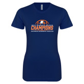 Next Level Ladies SoftStyle Junior Fitted Navy Tee-2017 Womens Soccer Champions w/ Ball