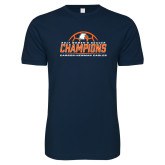Next Level SoftStyle Navy T Shirt-2017 Womens Soccer Champions w/ Ball