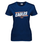 Ladies Navy T Shirt-Eagles Slanted w/ Logo