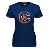 Ladies Navy T Shirt-Official Logo Distressed