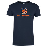Ladies Navy T Shirt-Beach Volleyball