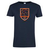 Ladies Navy T Shirt-Soccer Shield w/ Logo
