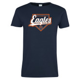 Ladies Navy T Shirt-Eagles Baseball Diamond w/ Script