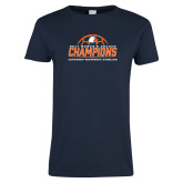 Ladies Navy T Shirt-2017 Womens Soccer Champions w/ Ball