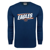 Navy Long Sleeve T Shirt-Eagles Slanted w/ Logo