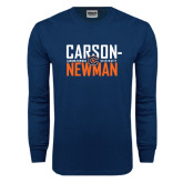 Navy Long Sleeve T Shirt-Carson Newman Stacked