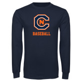 Navy Long Sleeve T Shirt-Baseball