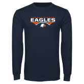 Navy Long Sleeve T Shirt-Carson-Newman Eagles Football Stacked
