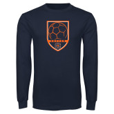 Navy Long Sleeve T Shirt-Soccer Shield w/ Logo