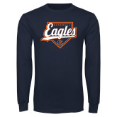 Navy Long Sleeve T Shirt-Eagles Baseball Diamond w/ Script