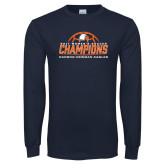 Navy Long Sleeve T Shirt-2017 Womens Soccer Champions w/ Ball