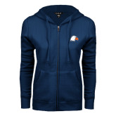 ENZA Ladies Navy Fleece Full Zip Hoodie-Eagle Head
