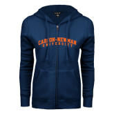 ENZA Ladies Navy Fleece Full Zip Hoodie-Arched Carson-Newman University