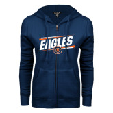 ENZA Ladies Navy Fleece Full Zip Hoodie-Eagles Slanted w/ Logo