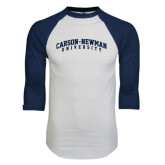 White/Navy Raglan Baseball T-Shirt-Arched Carson-Newman University