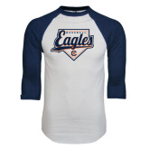 White/Navy Raglan Baseball T-Shirt-Eagles Baseball Diamond w/ Script