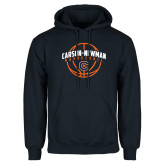 Navy Fleece Hoodie-Carson-Newman Basketball Arched w/ Ball