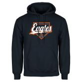Navy Fleece Hoodie-Eagles Baseball Diamond w/ Script