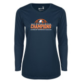 Ladies Syntrel Performance Navy Longsleeve Shirt-2017 Womens Soccer Champions w/ Ball