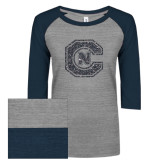 ENZA Ladies Athletic Heather/Navy Vintage Triblend Baseball Tee-Official Logo Graphite Glitter