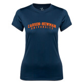 Ladies Syntrel Performance Navy Tee-Arched Carson-Newman University