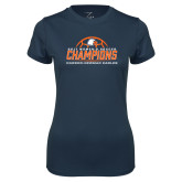 Ladies Syntrel Performance Navy Tee-2017 Womens Soccer Champions w/ Ball
