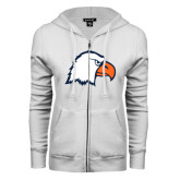 ENZA Ladies White Fleece Full Zip Hoodie-Eagle Head