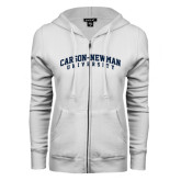 ENZA Ladies White Fleece Full Zip Hoodie-Arched Carson-Newman University
