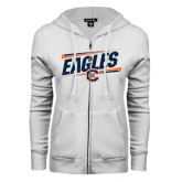 ENZA Ladies White Fleece Full Zip Hoodie-Eagles Slanted w/ Logo