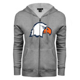 ENZA Ladies Grey Fleece Full Zip Hoodie-Eagle Head