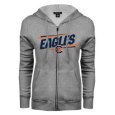 ENZA Ladies Grey Fleece Full Zip Hoodie-Eagles Slanted w/ Logo