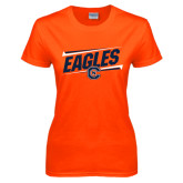 Ladies Orange T Shirt-Eagles Slanted w/ Logo