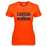 Ladies Orange T Shirt-Carson Newman Stacked
