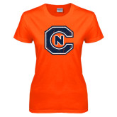 Ladies Orange T Shirt-Official Logo Distressed