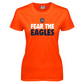 Ladies Orange T Shirt-Fear The Eagles