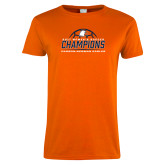 Ladies Orange T Shirt-2017 Womens Soccer Champions w/ Ball