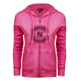ENZA Ladies Fuchsia Fleece Full Zip Hoodie-Official Logo Hot Pink Glitter