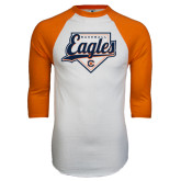 White/Orange Raglan Baseball T Shirt-Eagles Baseball Diamond w/ Script